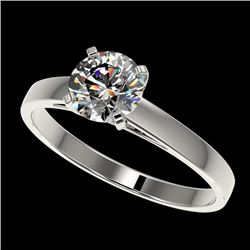 1 CTW Certified H-SI/I Quality Diamond Solitaire Engagement Ring 10K White Gold - REF-140F2M - 32981