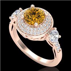 2.05 CTW Intense Fancy Yellow Diamond Art Deco 3 Stone Ring 18K Rose Gold - REF-300R2K - 38149