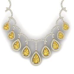 29.42 CTW Royalty Canary Citrine & VS Diamond Necklace 18K Yellow Gold - REF-781M8F - 39359