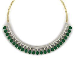 51.75 CTW Royalty Emerald & VS Diamond Necklace 18K Yellow Gold - REF-1072F8M - 38873
