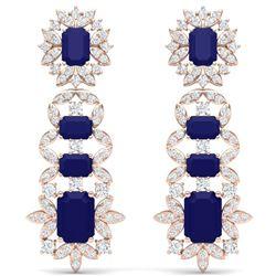 30.25 CTW Royalty Sapphire & VS Diamond Earrings 18K Rose Gold - REF-581T8X - 39412