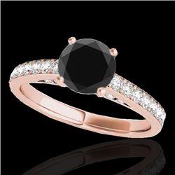 1.5 CTW Certified Vs Black Diamond Solitaire Ring 10K Rose Gold - REF-68X2T - 34866