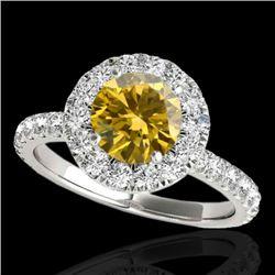 2 CTW Certified Si Fancy Intense Yellow Diamond Solitaire Halo Ring 10K White Gold - REF-227N3Y - 33