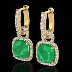 6 CTW Emerald & Micro Pave VS/SI Diamond Certified Earrings 18K Yellow Gold - REF-98H8W - 22962