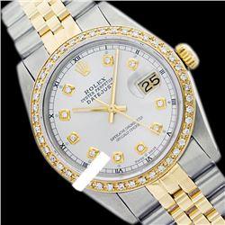 Rolex Men's Two Tone 14K Gold/SS, QuickSet, Diamond Dial & Diamond Bezel - REF-474W5K