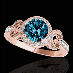 1.33 CTW SI Certified Fancy Blue Diamond Solitaire Halo Ring 10K Rose Gold - REF-159M6F - 33811