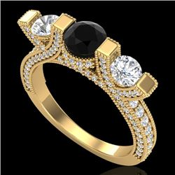 2.3 CTW Fancy Black Diamond Solitaire Micro Pave 3 Stone Ring 18K Yellow Gold - REF-200R2K - 37641