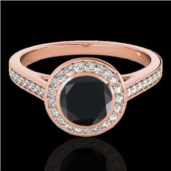 1.3 CTW Certified Vs Black Diamond Solitaire Halo Ring 10K Rose Gold - REF-65R8K - 33629