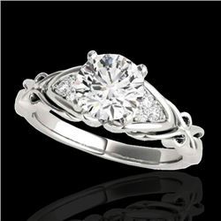 1.1 CTW H-SI/I Certified Diamond Solitaire Ring Two Tone 10K White Gold - REF-161F8M - 35200