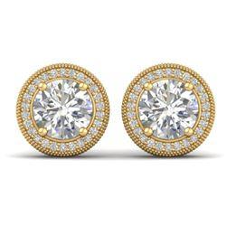 4 CTW Certified VS/SI Diamond Art Deco Stud Earrings 18K Yellow Gold - REF-1102H8W - 32788