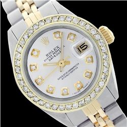 Rolex Men's Two Tone 14K Gold/SS, QuickSet, Diamond Dial & Diamond Bezel - REF-474K5R