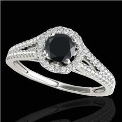 1.3 CTW Certified Vs Black Diamond Solitaire Halo Ring 10K White Gold - REF-64X9T - 33885