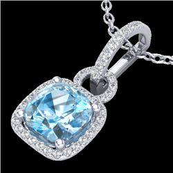 3.50 CTW Topaz & Micro VS/SI Diamond Certified Necklace 18K White Gold - REF-60X8T - 22992