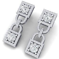 4 CTW Certified SI/I Diamond Halo Earrings 18K White Gold - REF-265N9Y - 40157