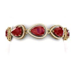 42.47 CTW Royalty Ruby & VS Diamond Bracelet 18K Yellow Gold - REF-654W5H - 39560