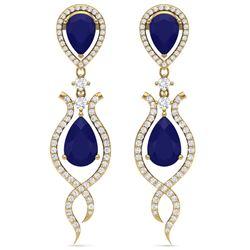16.57 CTW Royalty Sapphire & VS Diamond Earrings 18K Yellow Gold - REF-327F3M - 39518