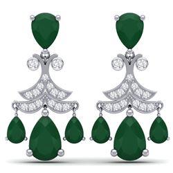 11.97 CTW Royalty Emerald & VS Diamond Earrings 18K White Gold - REF-176X4T - 38715