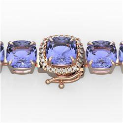 40 CTW Tanzanite & Pave VS/SI Diamond Bracelet 14K Rose Gold - REF-548F2M - 23325