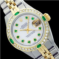 Rolex Ladies Two Tone 14K Gold/SS, Diam/Emerald Dial & Diam/Emerald Bezel, Saph Crystal - REF-368W7K