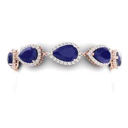 42 CTW Royalty Sapphire & VS Diamond Bracelet 18K Rose Gold - REF-527X3T - 38863