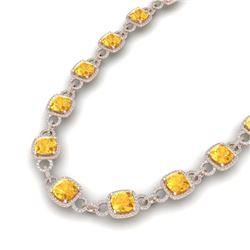 66 CTW Citrine & VS/SI Diamond Certified Necklace 14K Rose Gold - REF-794H5W - 23039