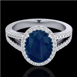 3 CTW Sapphire & Micro Pave VS/SI Diamond Halo Solitaire Ring 18K White Gold - REF-78Y2N - 20949