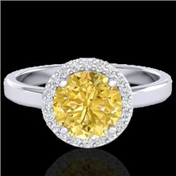 2 CTW Citrine & Halo VS/SI Diamond Micro Pave Ring Solitaire 18K White Gold - REF-48W5H - 21626