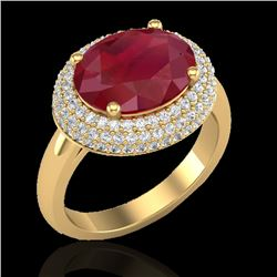 4.50 CTW Ruby & Micro Pave VS/SI Diamond Certified Ring 18K Yellow Gold - REF-119R6K - 20923