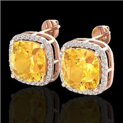 12 CTW Citrine & Micro Pave Halo VS/SI Diamond Earrings Solitaire 14K Rose Gold - REF-75T5X - 23059