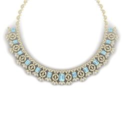 53.14 CTW Royalty Sky Topaz & VS Diamond Necklace 18K Yellow Gold - REF-1563M6F - 39386
