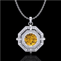 0.75 CTW Intense Fancy Yellow Diamond Art Deco Stud Necklace 18K White Gold - REF-121M8F - 37462