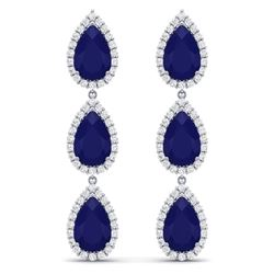 27.06 CTW Royalty Sapphire & VS Diamond Earrings 18K White Gold - REF-345F5M - 38847