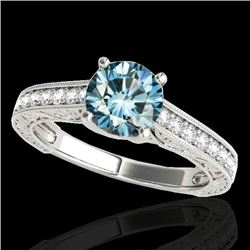 1.82 CTW SI Certified Fancy Blue Diamond Solitaire Ring 10K White Gold - REF-254N5Y - 34957