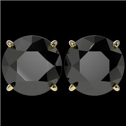 5.15 CTW Fancy Black VS Diamond Solitaire Stud Earrings 10K Yellow Gold - REF-120F5M - 36716