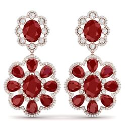 33.88 CTW Royalty Designer Ruby & VS Diamond Earrings 18K Rose Gold - REF-472N8Y - 39157