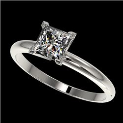 1 CTW Certified VS/SI Quality Princess Diamond Engagement Ring 10K White Gold - REF-297X2T - 32897