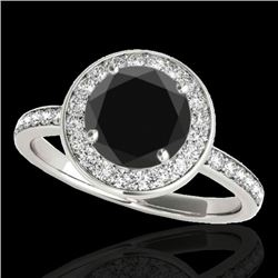 1.65 CTW Certified Vs Black Diamond Solitaire Halo Ring 10K White Gold - REF-140R2K - 34372