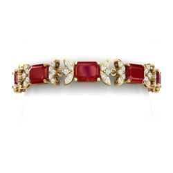 38.13 CTW Royalty Ruby & VS Diamond Bracelet 18K Yellow Gold - REF-490H9W - 39395