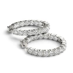 10 CTW Diamond VS/SI Certified 30 Mm Hoop Earrings 14K White Gold - REF-727H6W - 29020