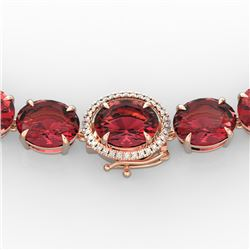 145 CTW Pink Tourmaline & VS/SI Diamond Necklace 14K Rose Gold - REF-1955N6Y - 22309