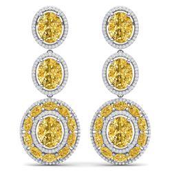 29.71 CTW Royalty Canary Citrine & VS Diamond Earrings 18K White Gold - REF-354M5F - 39270