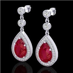 6 CTW Ruby & Micro Pave VS/SI Diamond Certified Earrings Designer 18K White Gold - REF-93Y8N - 23120