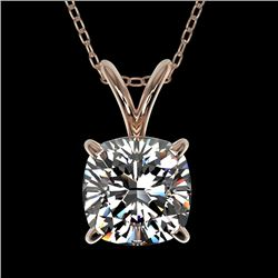 1 CTW Certified VS/SI Quality Cushion Cut Diamond Necklace 10K Rose Gold - REF-267R8K - 33199