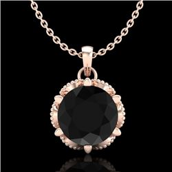 1.36 CTW Fancy Black Diamond Solitaire Art Deco Stud Necklace 18K Rose Gold - REF-85N5Y - 38102