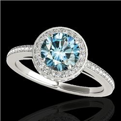 1.55 CTW SI Certified Fancy Blue Diamond Solitaire Halo Ring 10K White Gold - REF-180H2W - 34279