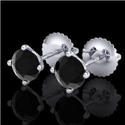 1.01 CTW Fancy Black Diamond Solitaire Art Deco Stud Earrings 18K White Gold - REF-45M5F - 38227