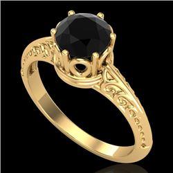 1 CTW Fancy Black Diamond Solitaire Engagement Art Deco Ring 18K Yellow Gold - REF-52K8R - 38117
