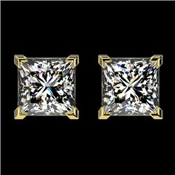 2 CTW Certified VS/SI Quality Princess Diamond Stud Earrings 10K Yellow Gold - REF-552K2R - 33096
