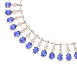 67.15 CTW Royalty Tanzanite & VS Diamond Necklace 18K Rose Gold - REF-1527Y3N - 39130