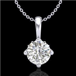 0.82 CTW VS/SI Diamond Solitaire Art Deco Stud Necklace 18K White Gold - REF-180H2W - 37025